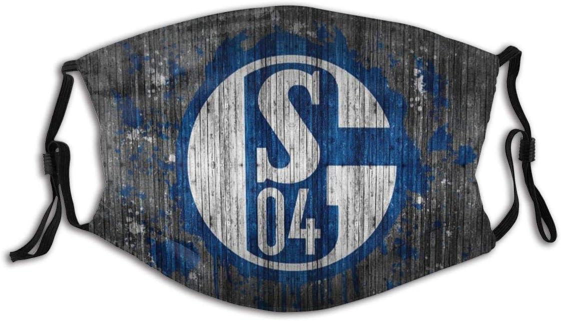 GABRI Mundschutz Gesichtsschutz Schalke 04 Fu/ßballmannschaft Logo 2 Antistaub Waschbar und Wiederverwendbar Bandana mit Filtern