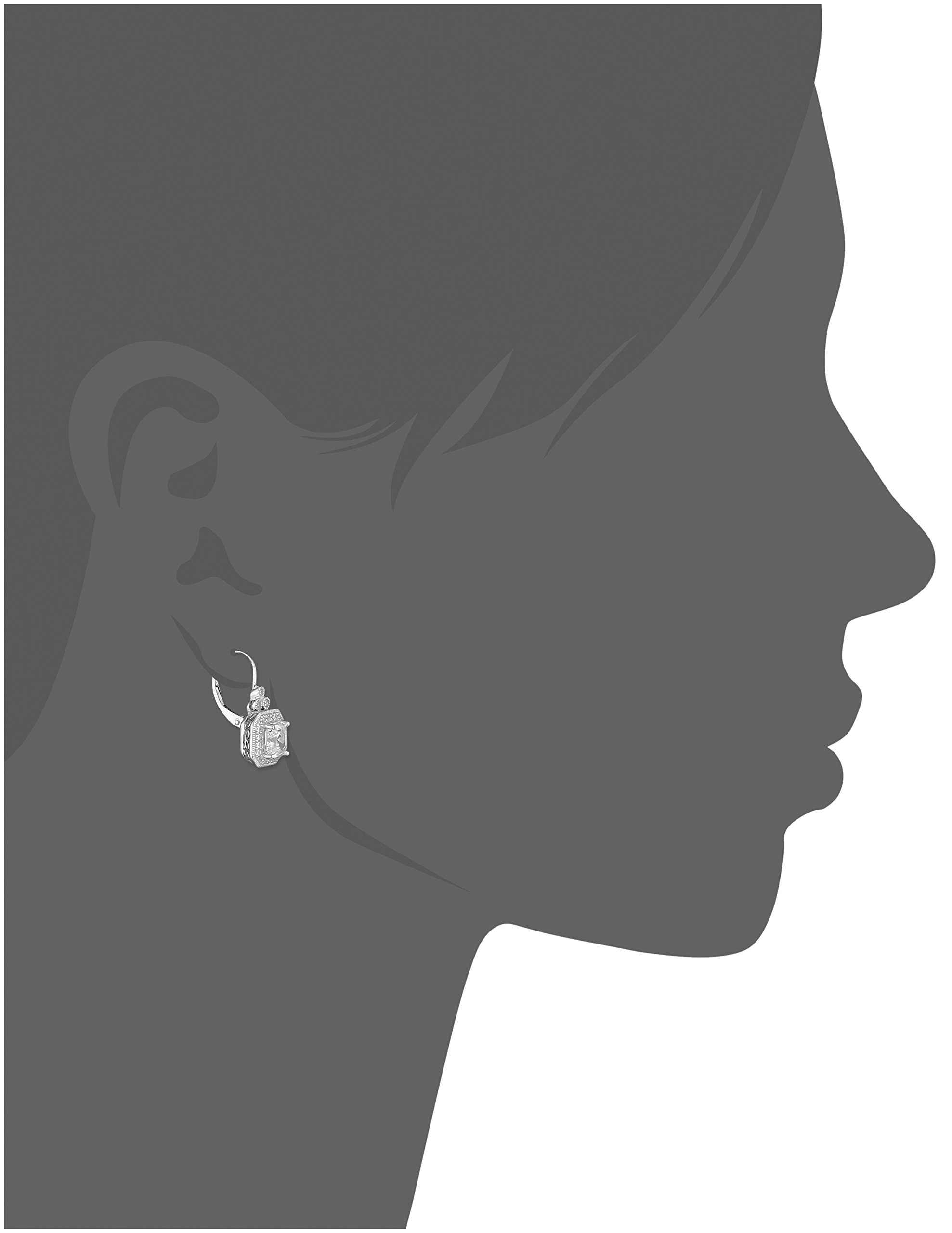 Platinum Plated Sterling Silver Antique Drop Earrings set with Asscher Cut Swarovski Zirconia by Amazon Collection (Image #2)