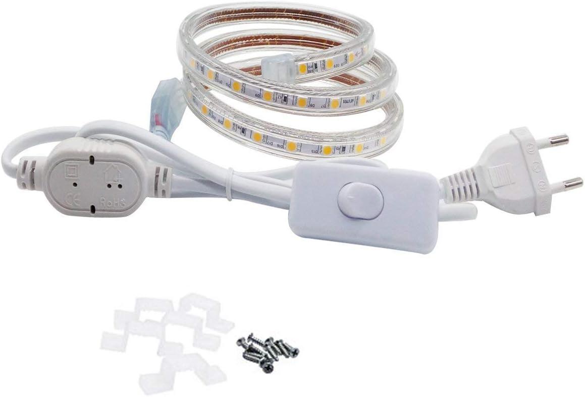 Tira LED con Interruptor, 220V IP65 de Impermeable para Interiores ...