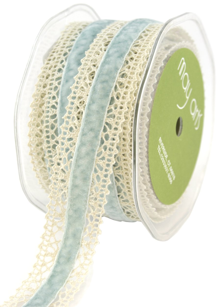 May Arts Crochet Edge Velvet Center Ribbon 1