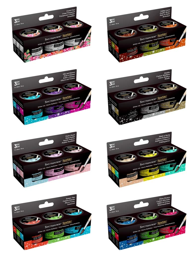 Crafter's Companion Spectrum Noir Sparkle Liquid Inks 30ml - All 8 Sets