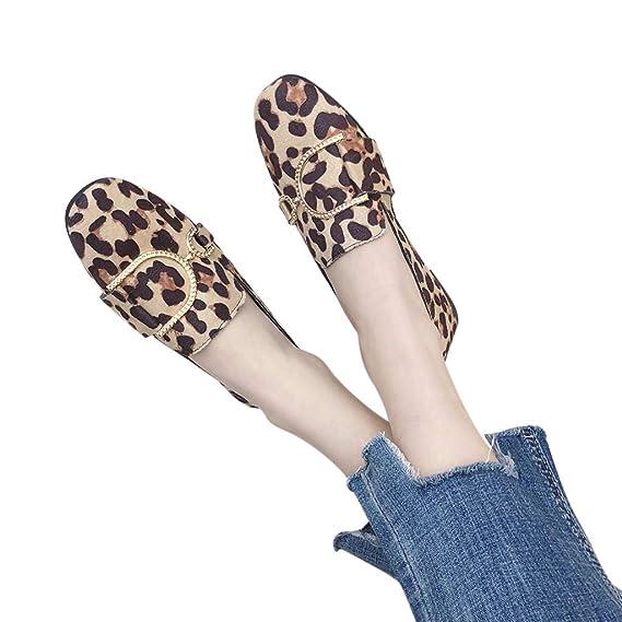 Zapatillas Mujer Planas Loafers Con Punta Cuatrada De Color Solido Con Estampado De Leopardo De Metal Decorativo Mocasines Casuales Zapatos De Fiesta ...