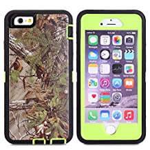 For iPhone 6S Plus Case, JOBSS [CAMO SERIES] [Heavy Duty] iPhone 6S Plus / 6 Plus (5.5 INCH) Case Hybrid Impact Defender Rugged Full Body Shockproof Hard Cover Shell Built-in Screen Protector [Green]