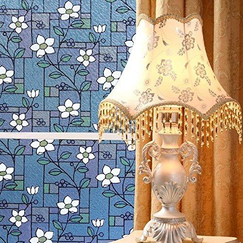 Zanbringe 17.7x78.7 Inches(45x200CM) Non-Adhesive White Flower Static Cling Privacy Window Film