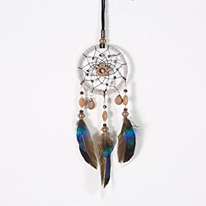 Tongta Vintage Style Feather Dream Catcher Pendant Hanging Ornament for Car Rearview Mirror Home Decor Bracelet Keychain