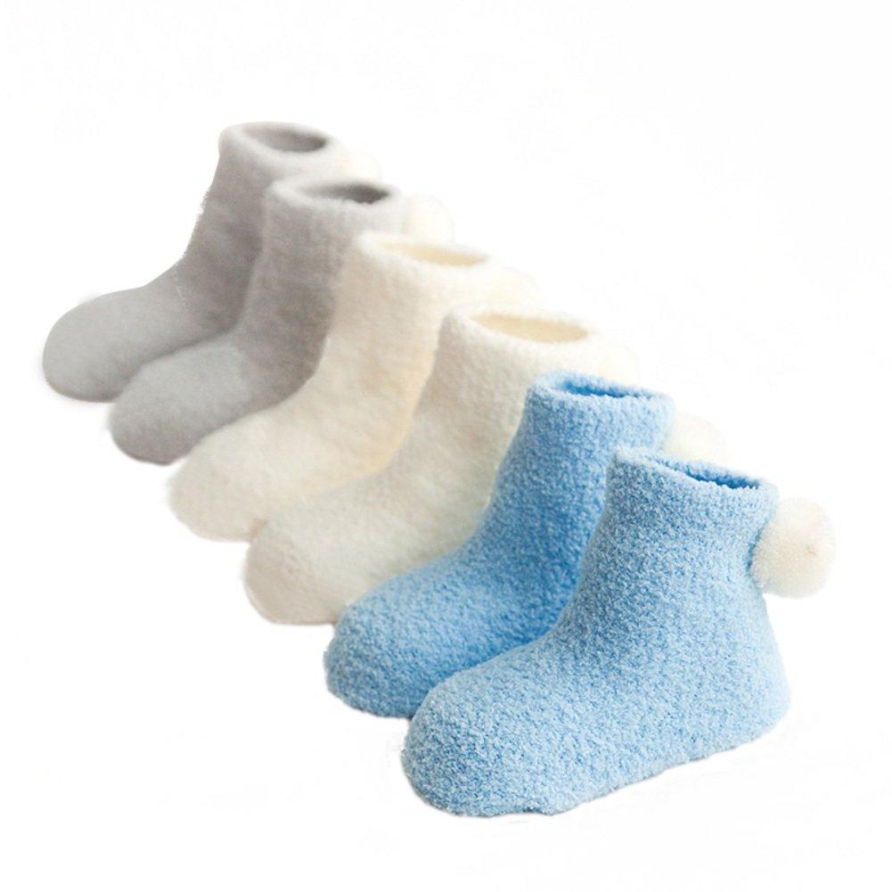 3 Pack Socks, Brightup Baby Boy Girl Christmas Socks,Fleece Toddler Thick Socks,Winter Autumn Socks
