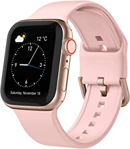 Adepoy Compatible with Apple Watch Bands 44mm 42mm, Soft Silicone Sport Wristbands Replacement Strap with Classic Clasp for iWatch Series SE 6 5 4 3 2 1 for Women Men, Pink 42/44mm