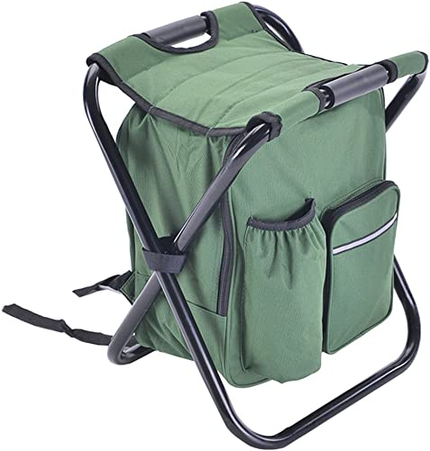 A.B Crew Portable Folding High-Intensity Steel Weight Supported Backpack Mazar Stool Chairs with Insulated Cooler Compartment Bag for Fishing Camping