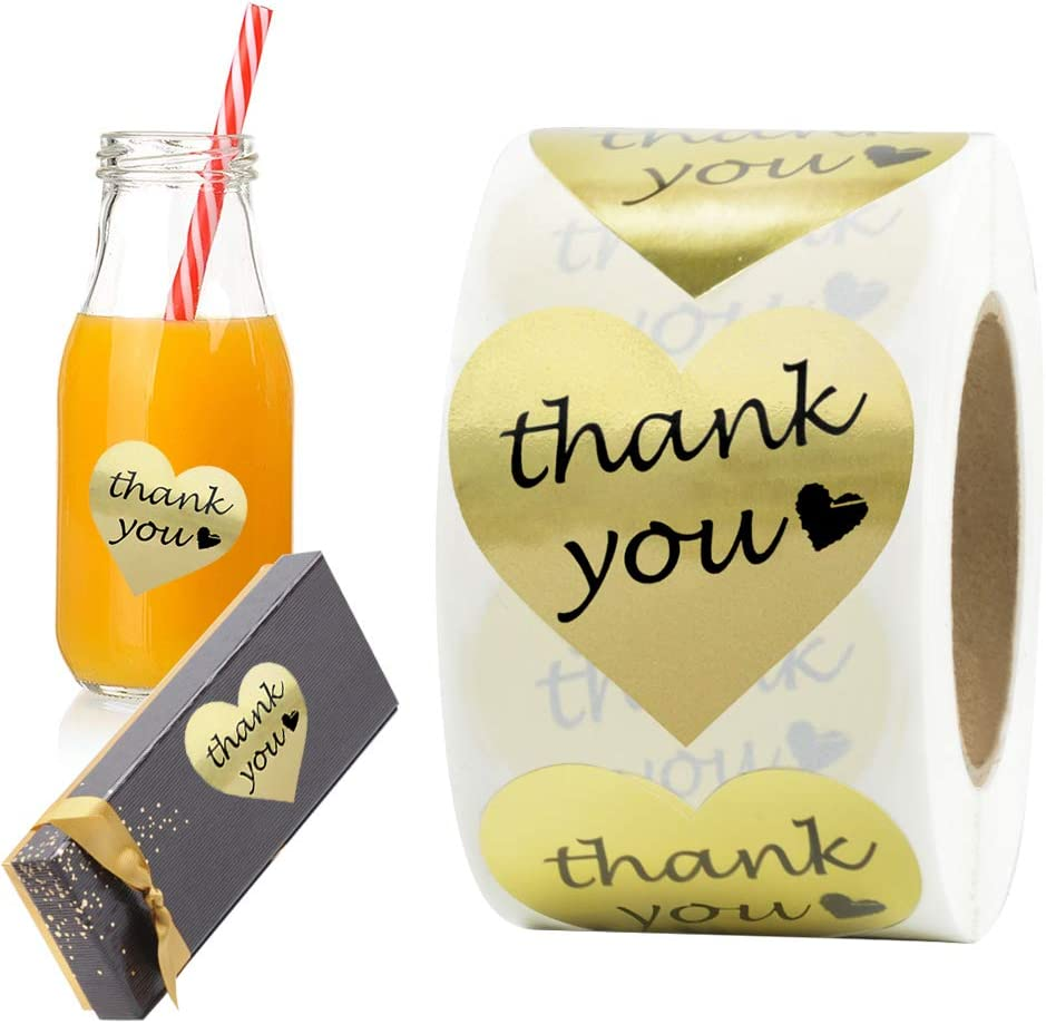 2 Thank You Stickers Gold Foil Labels Roll Gifts 1.5 Heart Shape Decorative Stickers for Thank You Cards Wedding Packages 500 per Pack