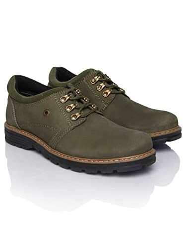 23c7d28492 Weinbrenner by Bata Men Olive Green Leather Casual Shoes (10UK)  Buy ...