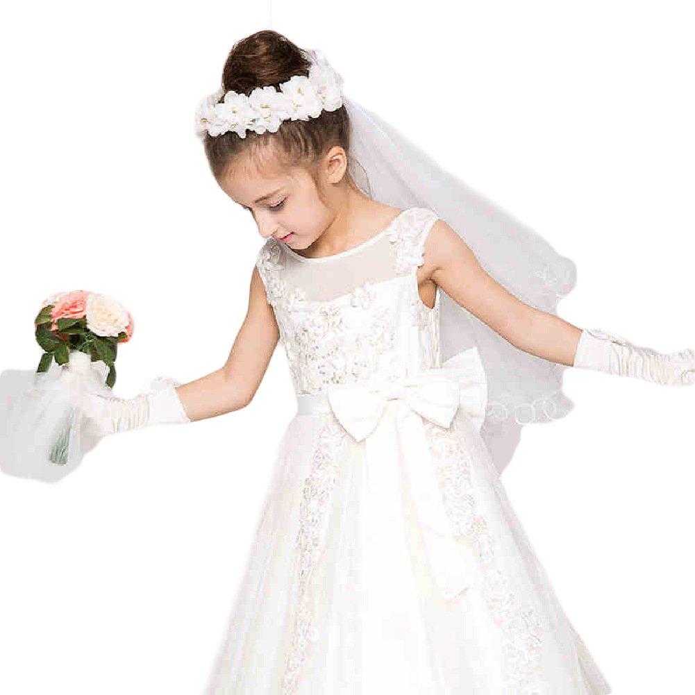 AliceHouse Baby Girls 2 Tier Floral Headpiece Veil Hair Wreath Flower Crown GV05 White Pink