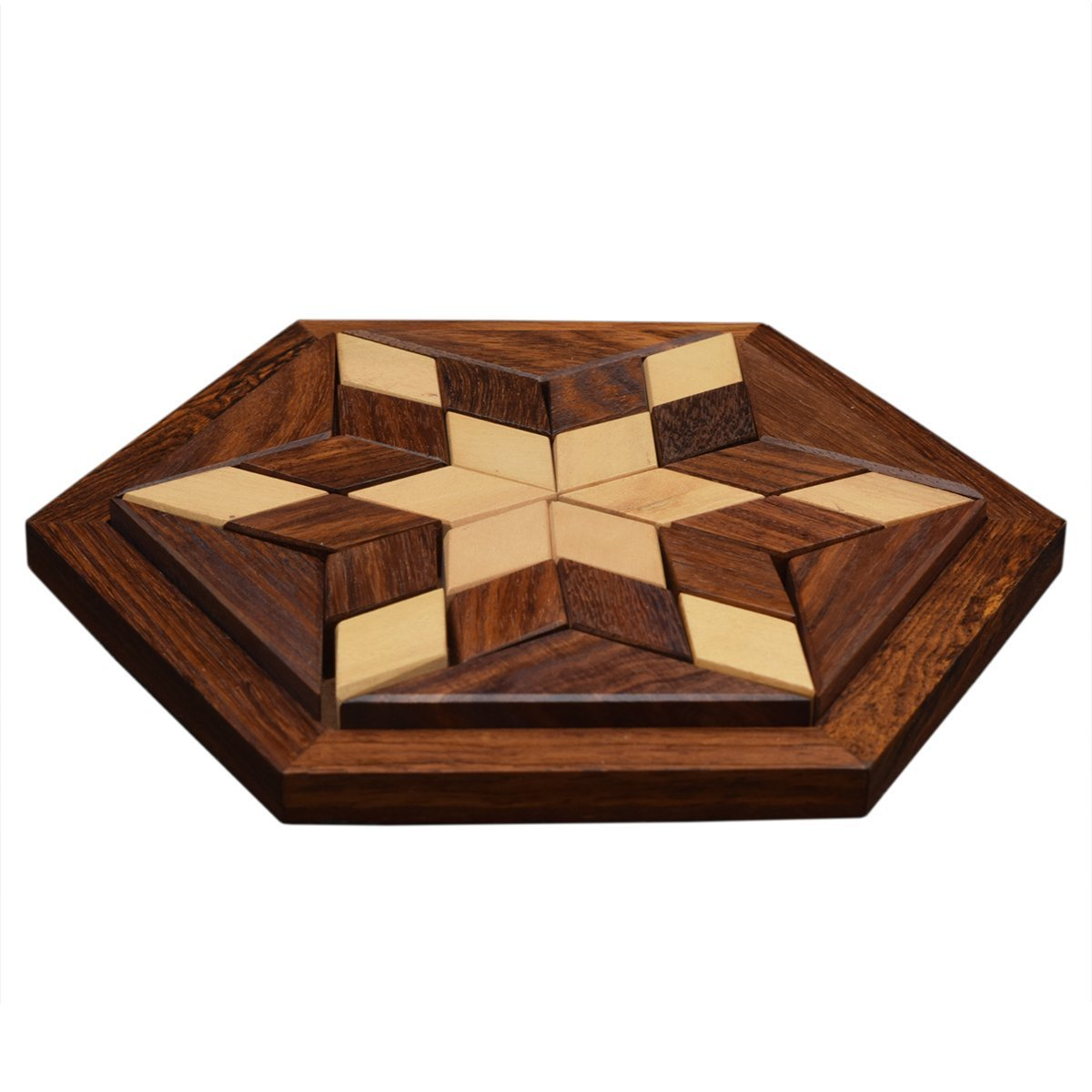 Brain Teaser Gifts for Kids Indian Glance 30-Piece Star Jigsaw Wooden Puzzle Tangram Puzzle Board- Wooden Toy Game