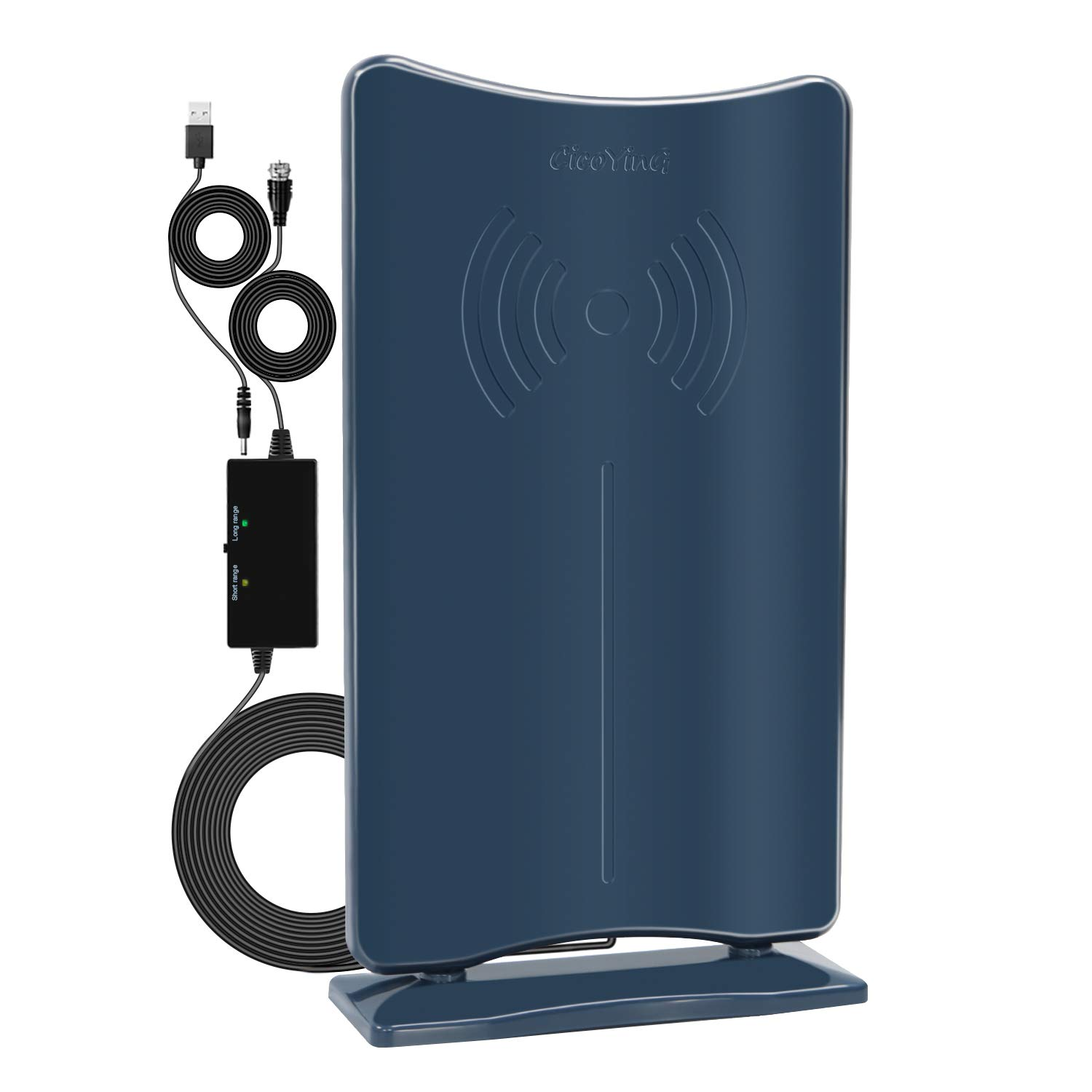 [2019 Latest HIGH GAIN] Amplified HD Digital TV Antenna - Long 80 Miles Range HDTV Antenna Indoor Amplifier Signal Booster, Support 4K 1080P & All Older TV's Free Channels w/Low Error Rate -Navy Blue by CicoYinG