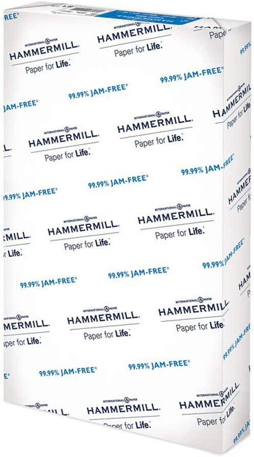 Hammermill 20lb Copy Paper, 8.5 x 14, 1 Ream, 500 Sheets, Made in USA, Sustainably Sourced From American Family Tree Farms, 92 Bright, Acid Free, Economical Multipurpose Printer Paper, 105015R