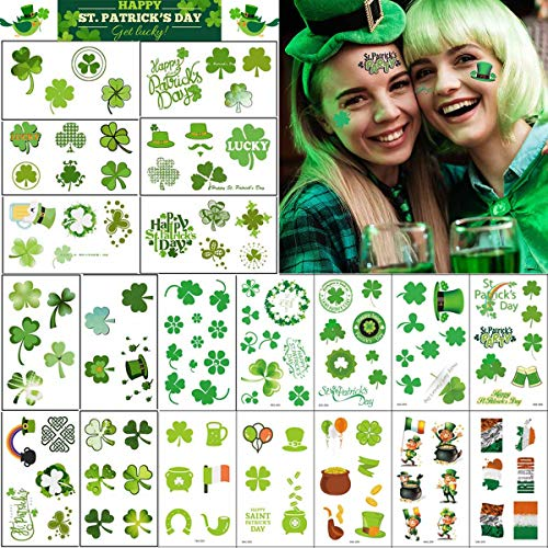 169Pcs St. Patrick's Day Temporary Tattoos Sticker, COKOHAPPY 20 Sheets Body Temporary Tattoos Decorative Stickers for Saint Patrick's Day Party Favor Decoration]()