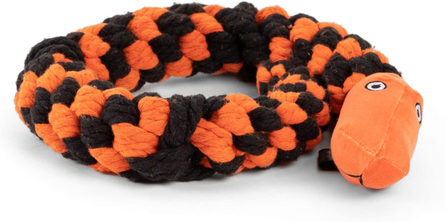 Disney Nightmare Before Christmas Snake Rope Dog Chew Toy Black and Orance