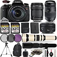 Canon EOS Rebel T6s DSLR Camera + Canon 18-135mm STM Lens + Canon 50mm 1.8 Lens + Tamron 70-300mm Di LD Macro Lens + 650-1300mm Zoom Lens + 500mm Telephoto Lens + 3PC FIlter Kit- International Version