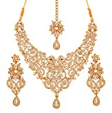 Product review for Touchstone Indian Bollywood Traditional Royal Look Attractive Filigree Carving Rhinestone Grand Bridal Designer Jewelry Necklace Set for Women