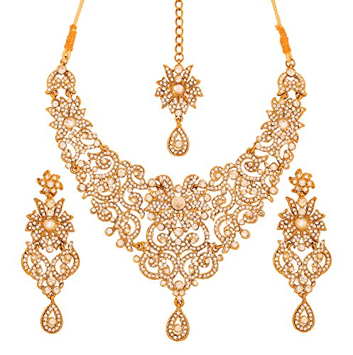 Touchstone Indian Bollywood Traditional Royal Look Attractive Filigree Carving Rhinestone Grand Bridal Jewelry Necklace Set