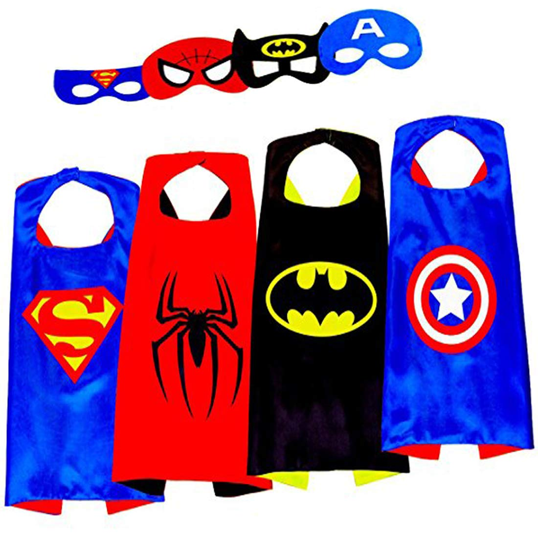 3KINGS Comics Cartoon Dress Up Costumes 4Pcs Capes and Masks