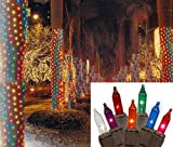 Vickerman Multicolored Twinkle Christmas Net Style Tree Trunk Wrap Lights with Brown Wire, 2' x 8'
