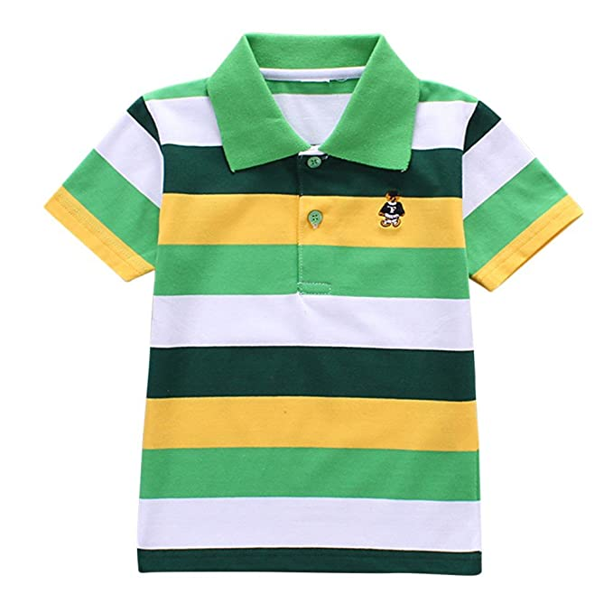Minuya Kids Boys Girls T-Shirt Polo Shirts Short Sleeve Striped Summer Tops Clothes Outfits 2-6 Years