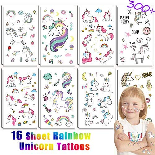 KeaParty Unicorn Temporary Tattoos - Unicorn Party Supplies | 16 Sheets for Kids Birthday Party, Girls Party Favors Non Toxic Waterproof Unicorn Tattoo for Party Favors FDA Approved Colorants