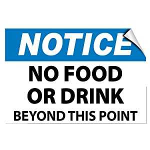 Notice No Food Or Drink Beyond This Point Activity Label Decal Sticker 7 Inches X 5 Inches
