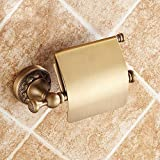 LINA@ Copper antique European-style creative retro pastoral carved toilet roll holder toilet paper holder