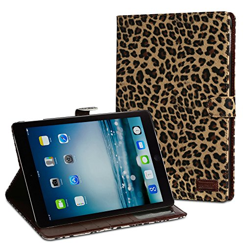 iPad Air 2 Leopard Skin Case - Fosmon CADDY-LEOPARD Leather Wallet Flip Cover Case for Apple iPad Air 2 (2014) - Brown