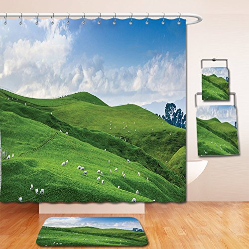 Highland Shower Cotton Curtain (Nalahome Bath Suit: Showercurtain Bathrug Bathtowel Handtowel Farm House Decor Sheep under Blue Sky Trees Grassland Highland Nature Landscape Scenery Picture Green White)