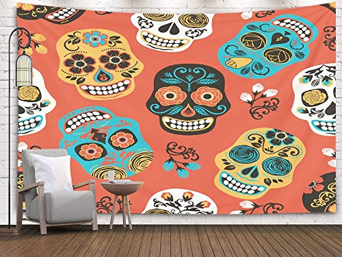 Teepel 80x60 Halloween Tapestries,De Day Dead Pattern Template Los Muertos Wall Hanging Tapestry for Living Room Decor,Orange Gray]()