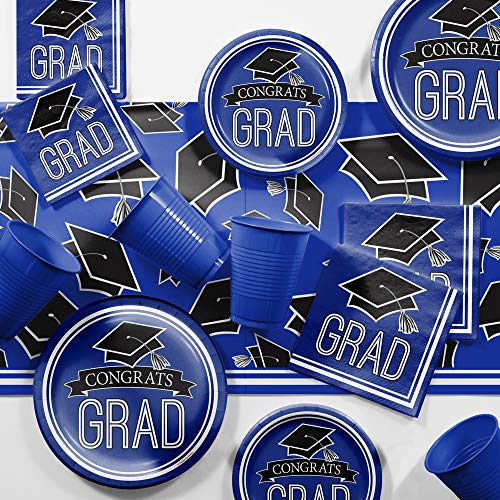 (Graduation School Spirit Blue Party Supplies Kit, Serves 18)