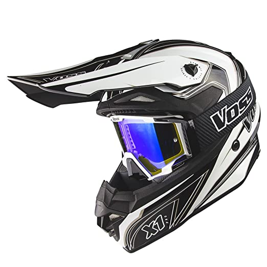 Amazon.com: Voss X1 Pro Magneto Graphic Motocross Helmet with Quick Release and Dusty Black MX Goggles with Blue Lens set - XL - White Magneto: Automotive