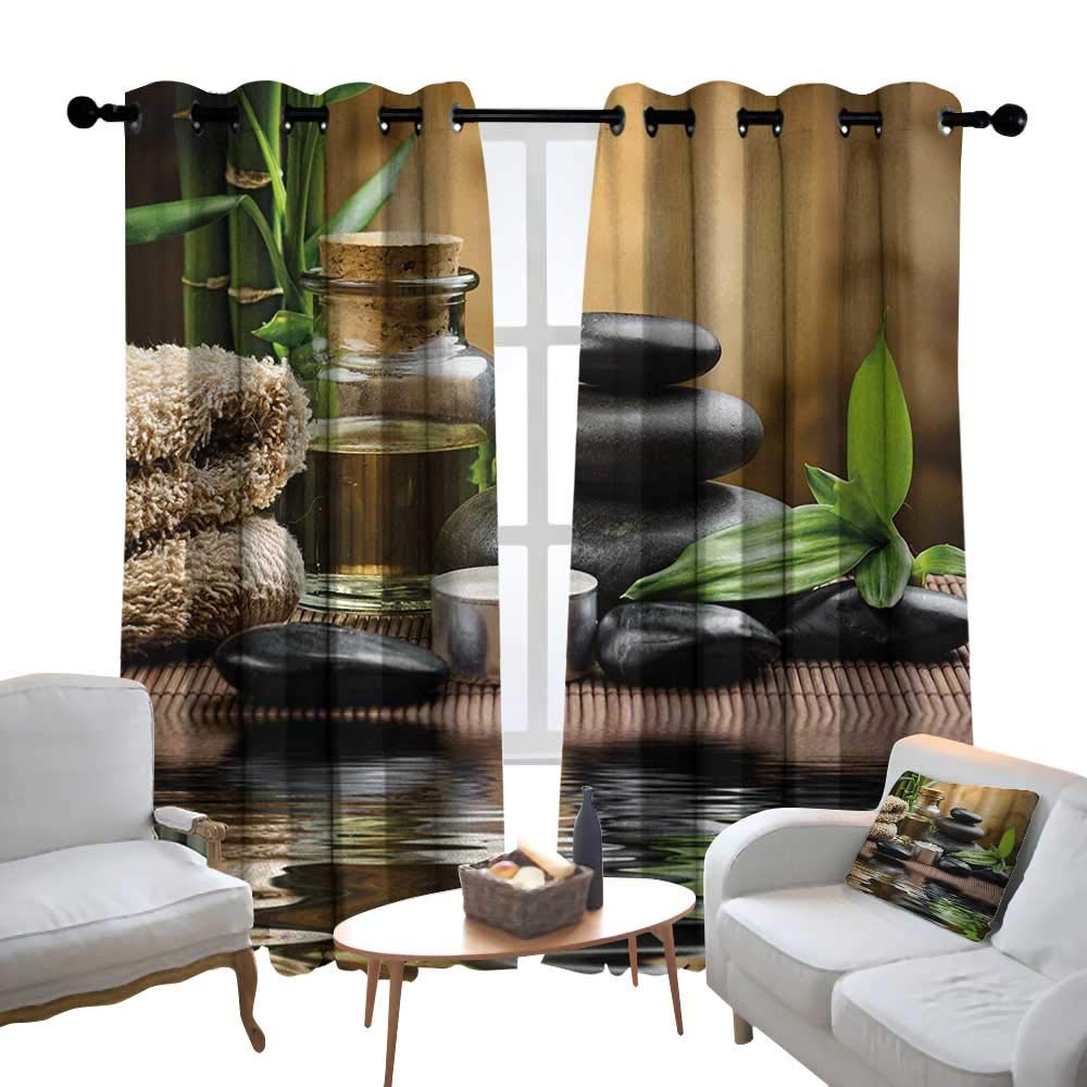 Lewis Coleridge Bathroom Curtains Spa,Asian Zen Massage Stone Triplets with Herbal Oil and Scent Candles Print,Black Brown and White,Room Darkening Waterproof Curtains for Bathroom 54''x84''