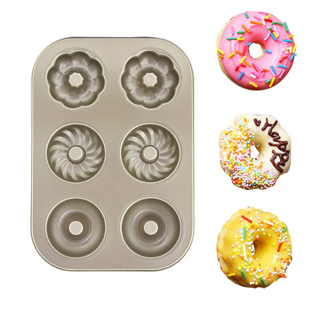 Cake Baking Tray Heavy Duty Carbon Steel Round Donut Pan Large Baking Pan Non-Stick Donut Pans for Baking Cake Biscuits Kitchen Bakeware 10.43×7.28×1.29 inch Cookie Sheet-Gold