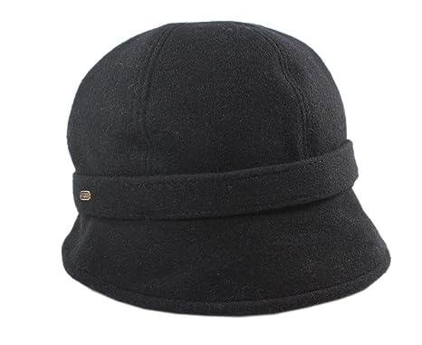 0cc9a6ee0a2 Mucros Chapeau irlandais style garçonne Laine noire  Amazon.fr ...