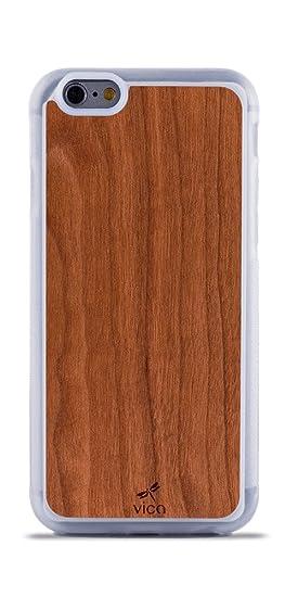 Funda iPhone 6 y 6S de Madera Real Cerezo + Silicona TPU Híbrido, carcasa color transparente, ligera y protección 360º