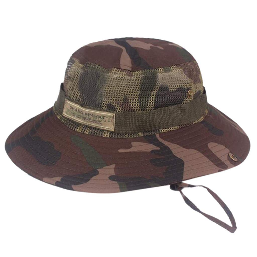 Clearance Camo Hat Fisherman Hat Beanie Hats for Men Women, Iuhan Summer Camouflage Fisherman Hat Outdoor Mountaineering Hiking Hat Visor Hat Sun Protection Caps (B)