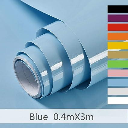 Hode Carta Adesiva per Mobili 40cmX300cm Carta da Parati Vinilica per  Adesivi Decalcomanie Pareti Porte Finestre Posteriori Rotolo di Plastica Blu