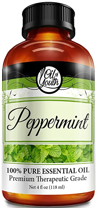 Oil of Youth Peppermint Essential Oil Pure Best Therapeutic Grade, Large, 4 Fluid Ounce