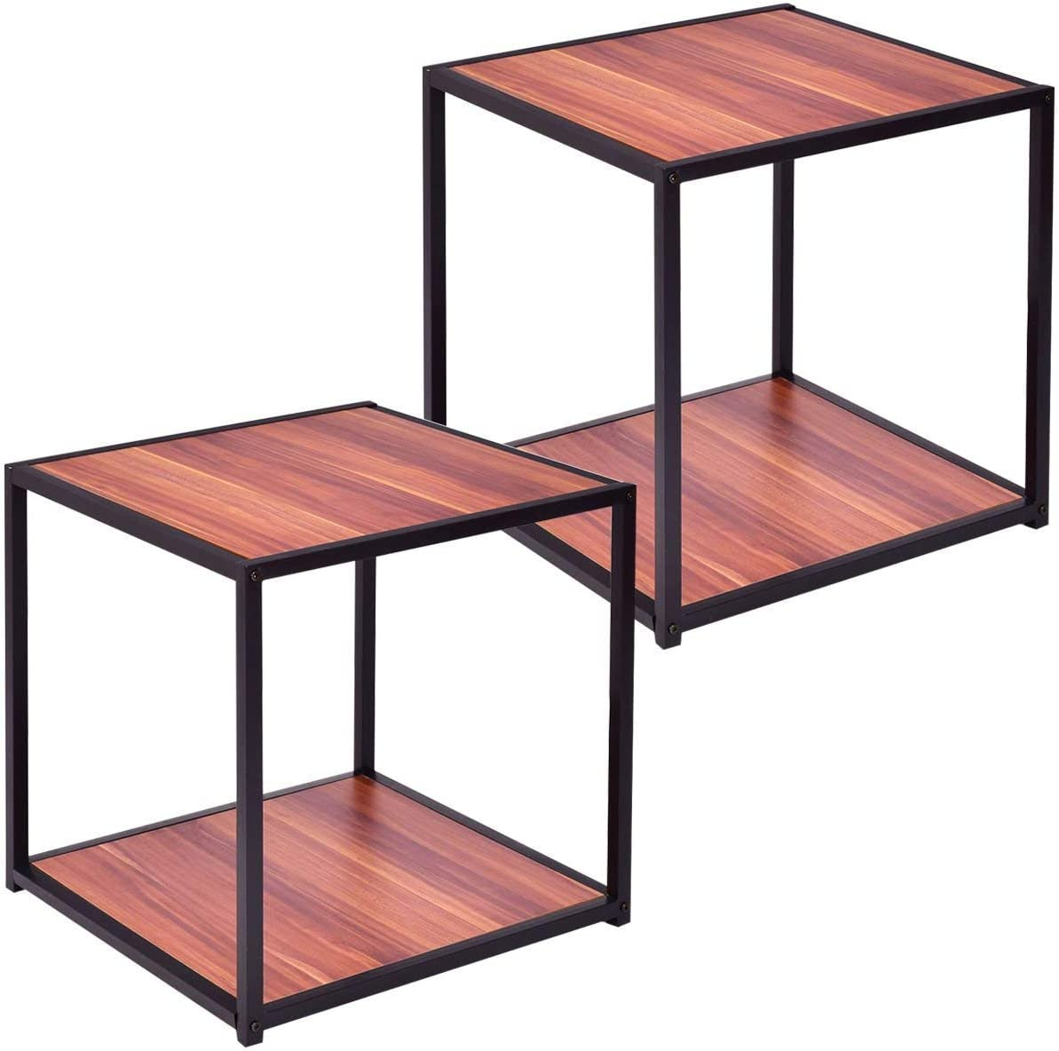 Casart End Table 20 inch Wood Square Sofa Couch Side Table Home Living Room Night Stand Snack Table End Coffee Table with Bottom Shelf 2