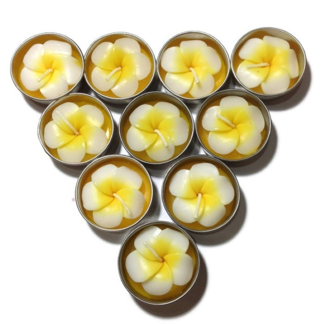 Pack of 10 Frangipani/ Plumeria Flower Fragrance Tealight Tea Light Candle - Aromatherapy Scent fragrance Candle - Genuinely Handmade for Home, Room, patio, party decor Wedding Decoration, Engagement Party, Valentine RisingGrowth99