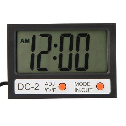 KKmoon Mini termómetro digital ℃/℉ Medidor de temperatura con reloj w/sconda interior