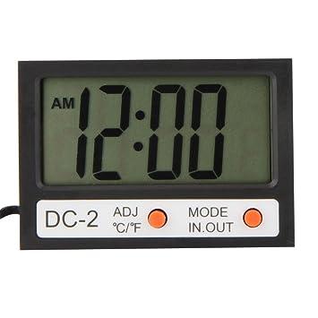 KKmoon Termómetro Digital LCD [ Interior + Exterior ] Medidor de la Temperatura Interior y Exterior ℃ / ℉ con Función de Reloj y w / Sonda (DC-2-NEGRO): ...