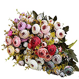shinney1 10heads/1 Bundle Silk Tea Roses Bride Bouquet for Christmas Home Wedding New Year Decoration Fake Plants Artificial Flowers 13