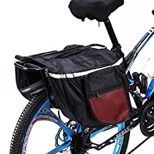 Yosoo Water-resistant Bicycle Seat Bag, Cycling Bicycle Bike Rack Back Rear Seat Tail Carrier Trunk Double Pannier Bag