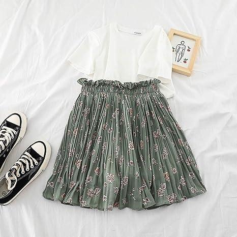 HEHEAB Falda,Green Chiffon Chic Moda Mujer Coreana Mini Falda De ...