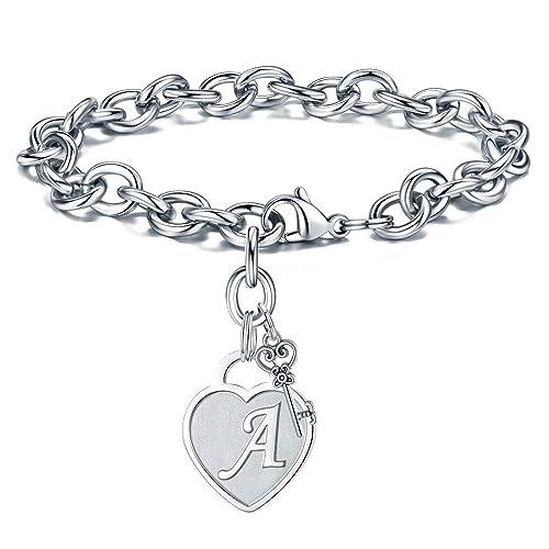 79ff3202d Amazon.com: M MOOHAM Initial Charm Bracelet for Women - Engraved Letter A  Initial Bracelet Womens Stainless Steel Heart Letter Charm Bracelet  Adjustable ...