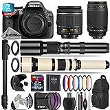 Holiday Saving Bundle for D3300 DSLR Camera + 650-1300mm Telephoto Lens + AF 70-300mm G Lens + AF-P 18-55mm + 500mm Telephoto Lens + 6PC Graduated Color Filter Set - International Version